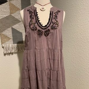 Free People Tunic with beading in Mocha